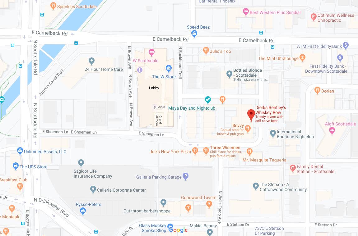Dierks Bentleys Whiskey Row Scottsdale Map